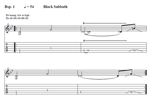 Black Sabbath guitar workshop tab